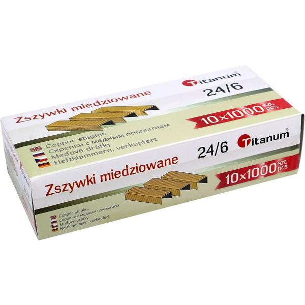 Скобы для степлера 24/6 медные Titanum