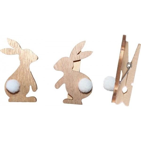 """Прищепки деревянные """"Кролики"""""""