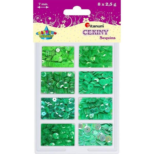 Пайетки 2,5гр./8цветов зеленые Titanum