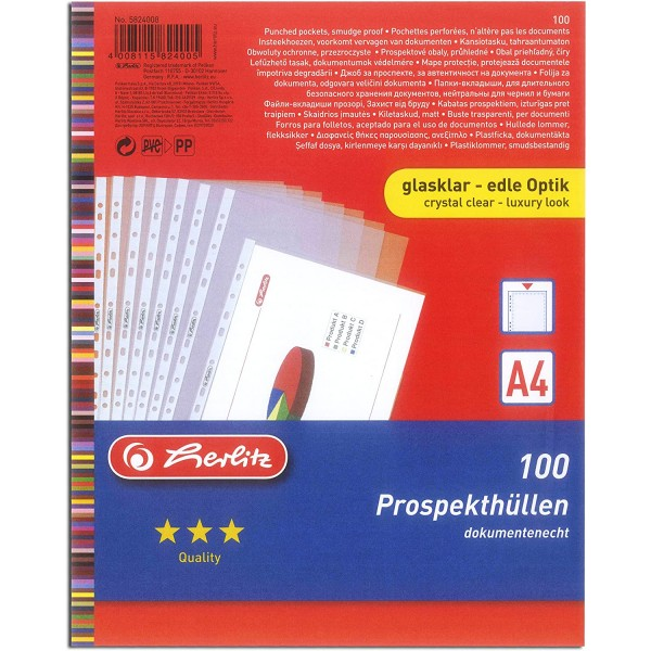 файлы А4 /60мк Cristal Herlitz 1...